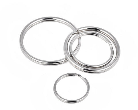 Round Split Key Chain Rings Set of 40 - Silver
