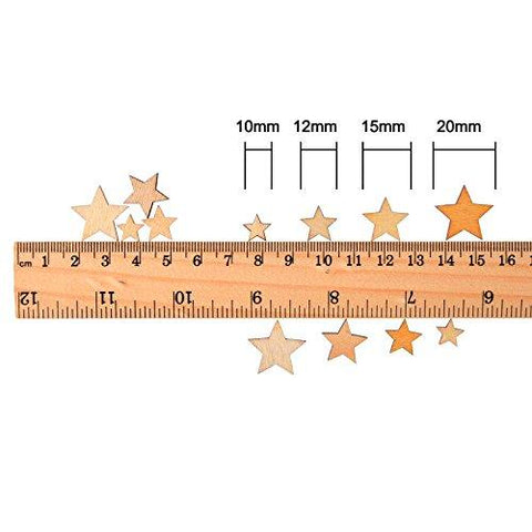 200 Pieces Wooden Star Slices with 4 Sizes