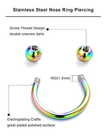 Stainless Steel Nose Ring Set of 12