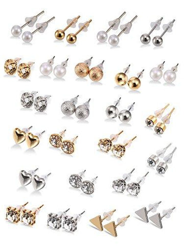 24 Pairs Crystal Pearl Studs Earrings