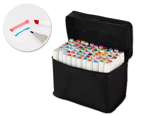 80 Multi Colors Oily Alcohol Dual Brush Mark Pens Set with Bag - White