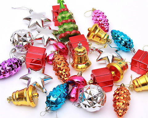 25 Pieces Multi Color Ornaments for Christmas Tree Decorations