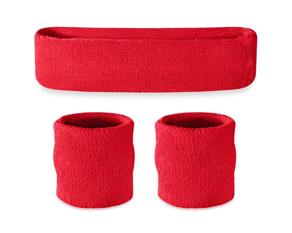 3 Pieces Elastic Sport Headband Wristband Set - Red
