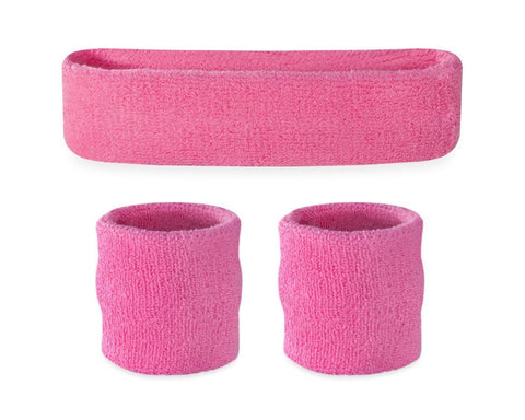 3 Pieces Elastic Sport Headband Wristband Set - Pink