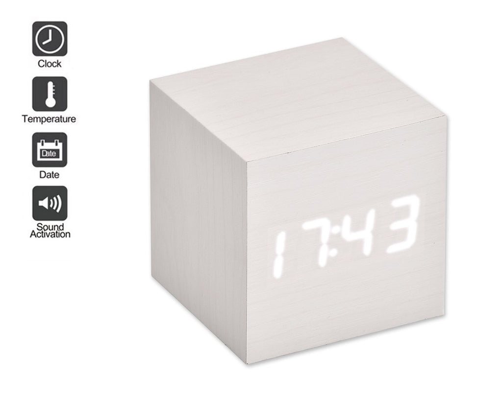 Wood Cube LED Alarm Clock with Date Time Temperature