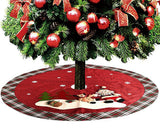 120cm Christmas Tree Skirt with Snowman Pattern - Green and Red