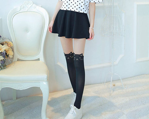 Cat Tail Over Knee Socks for Women Thigh High Socks Cute Pantyhose