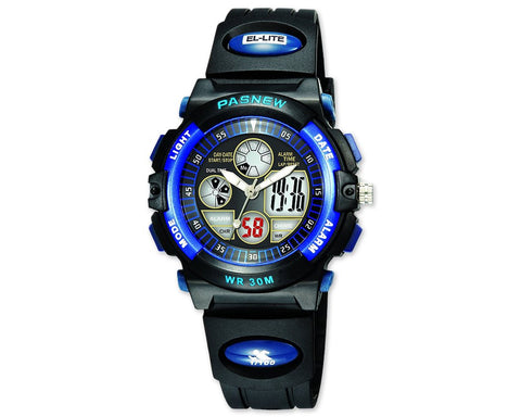 Pasnew Waterproof Boy's Digital Sport Watch 048G - Blue