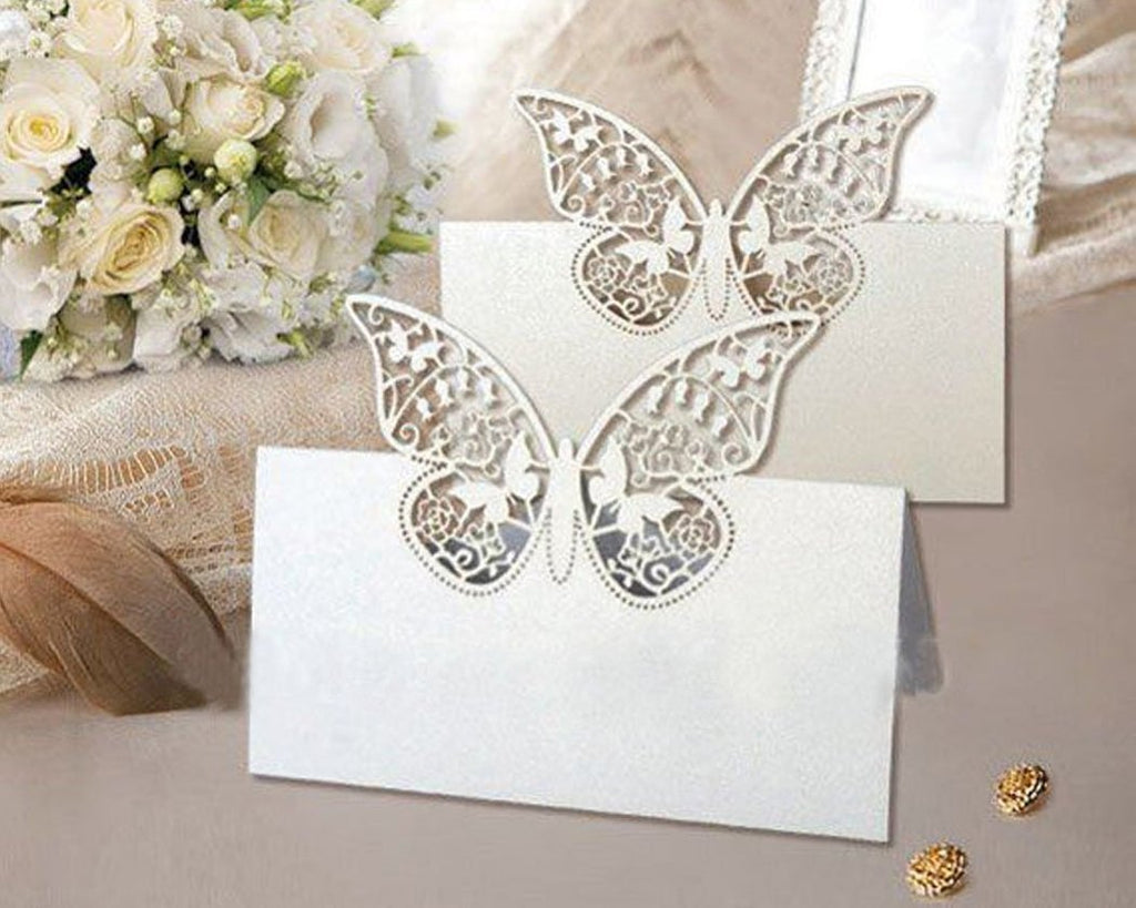 Laser Cut Butterfly Wedding Table Place Cards - White