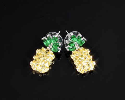 Pineapple Crystal Stud Earrings