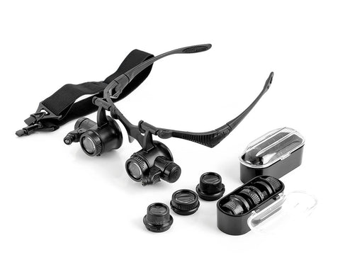 LED Embedded Jewelry Magnifier Glasses Loupe with 4 Pairs of Lens