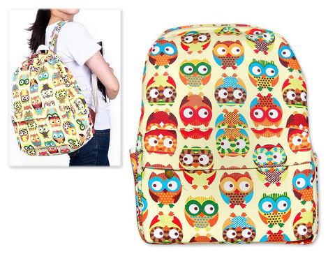 Owl Print Casual Canvas Backpack - Beige
