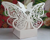 Laser Cut Twins Butterfly Wedding Candy Boxes with Ribbons - White