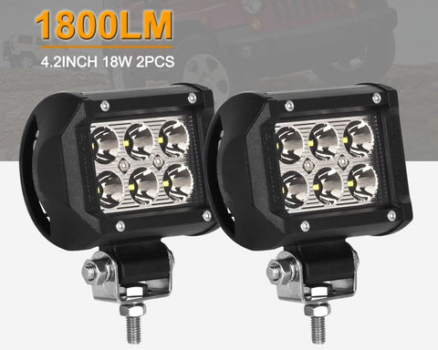 2 Pcs 18w 6 x Cree Led Waterproof Headlight for SUV