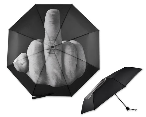 Middle Finger Folding Umbrella - Black