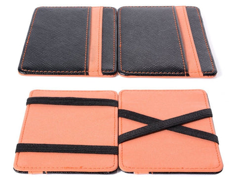 Single Line PU Leather Wallet with 4 Card Slots - Orange