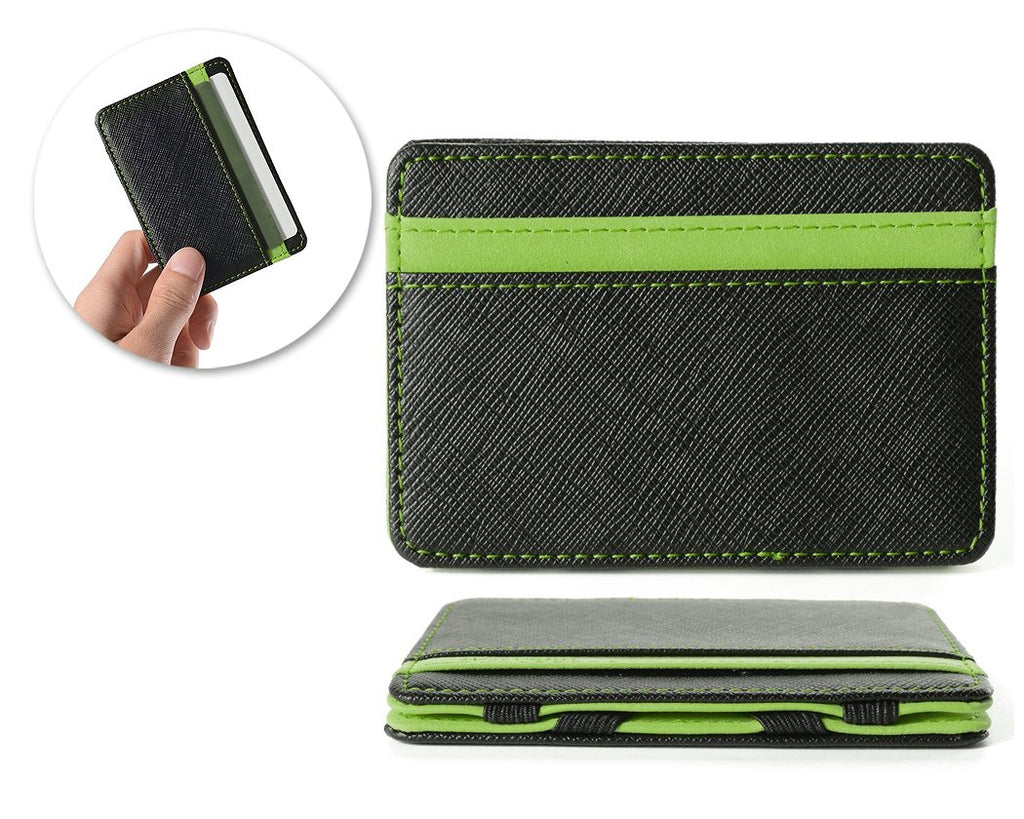 Single Line PU Leather Wallet with 4 Card Slots - Green
