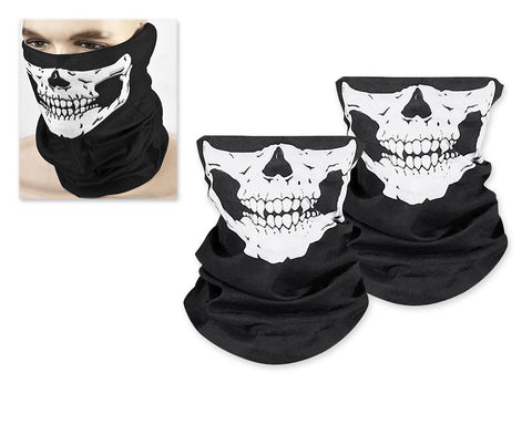 2 Pieces Skull Face Masks Motorcycle Neck Warmer - Black
