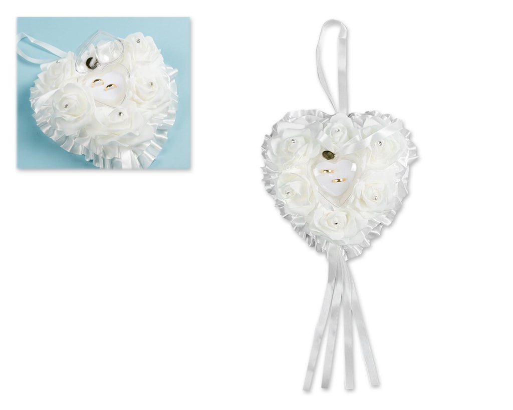 Heart Shaped Wedding Ring Pillow Cushion for 2 Rings Ring Box - White