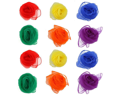 12 Pcs Juggling Scarves Square Dance Scarves Magic Scarves for Kids