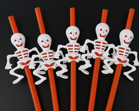 10 Pieces Skull Shape Drinking Straws Pumpkin Shape Plastic Straws