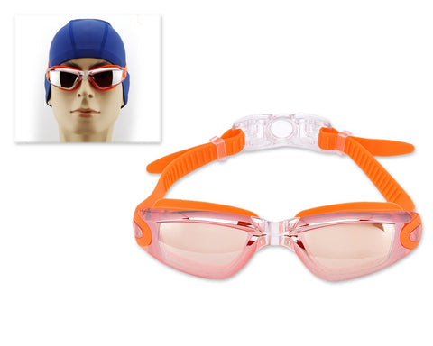 Swimming Goggles with Anti-fog Mirror Lens and Case - Orange