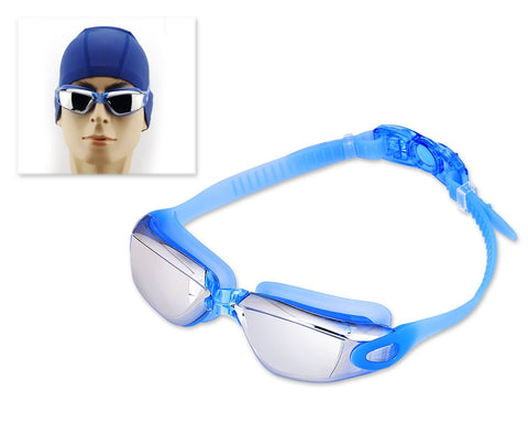 Swimming Goggles with Anti-fog Mirror Lens and Case - Blue