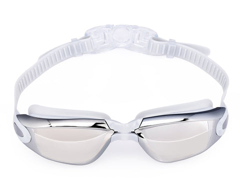 Swimming Goggles with Anti-fog Mirror Lens and Case - White