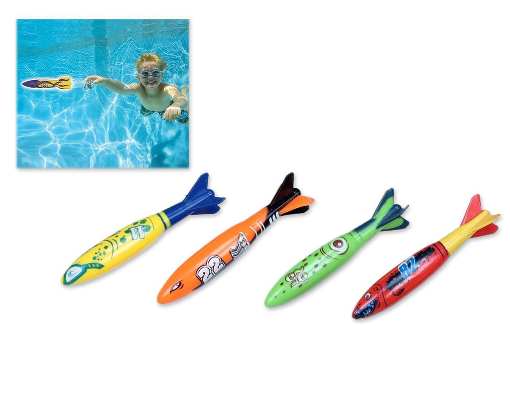 4 Pieces Toypedo Bandits for Swimming Pool and Diving Game