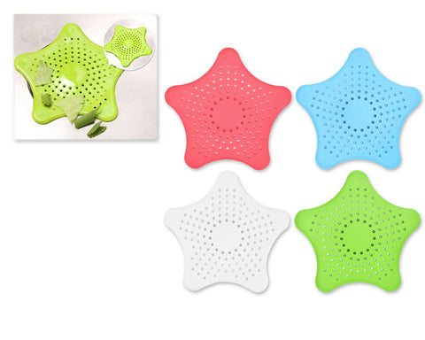4 Pieces Colorful Star Bathroom Hair Catcher or Kitchen Sink Strainer