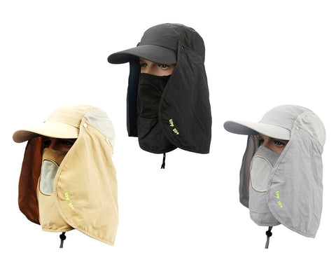 UV 30+ Sun Hat with Neck Protection Flap and Mask