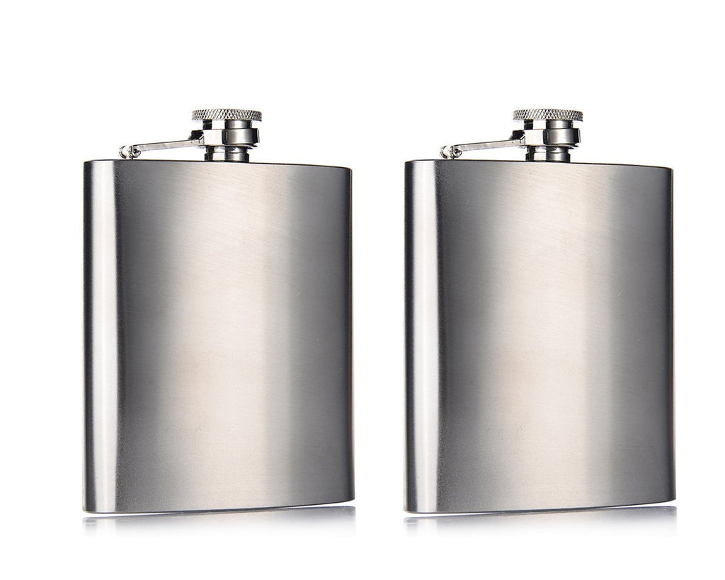 2 Pieces 7 oz Stainless Steel Hip Flask
