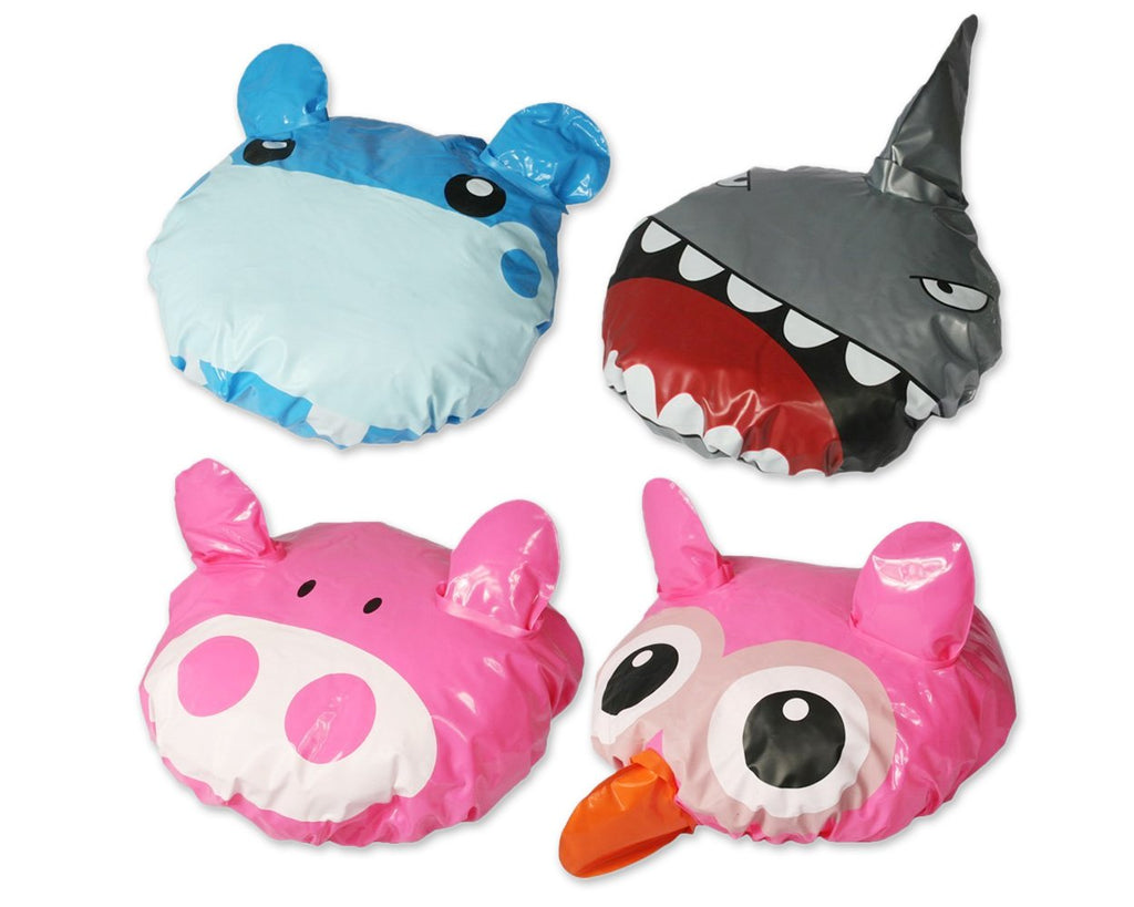 4 Pieces Different Patterns Shower Caps - Owl Hippo Pig Shark