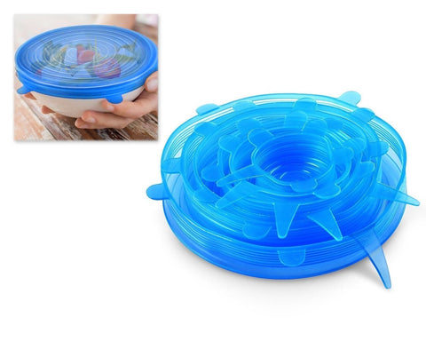 6 pieces Various Sizes Silicone Stretch Lids - Blue