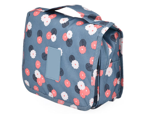 Flower Pattern Travel Makeup Bag with Hook - Blue