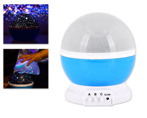Rotating Cosmos LED Projection Night Light - Blue