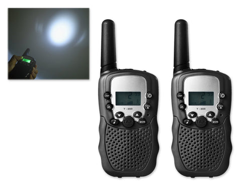 2 Pieces T388 Walkie Talkie for Kids with LCD Display - Black