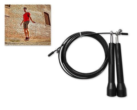 3m Adjustable Length Ball Bearing Speed Skipping Rope - Black