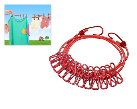 Portable Elastic Clothesline with 12 Pieces Clips - Red