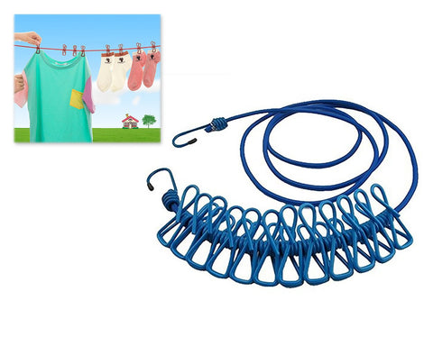 Portable Elastic Clothesline with 12 Pieces Clips - Blue
