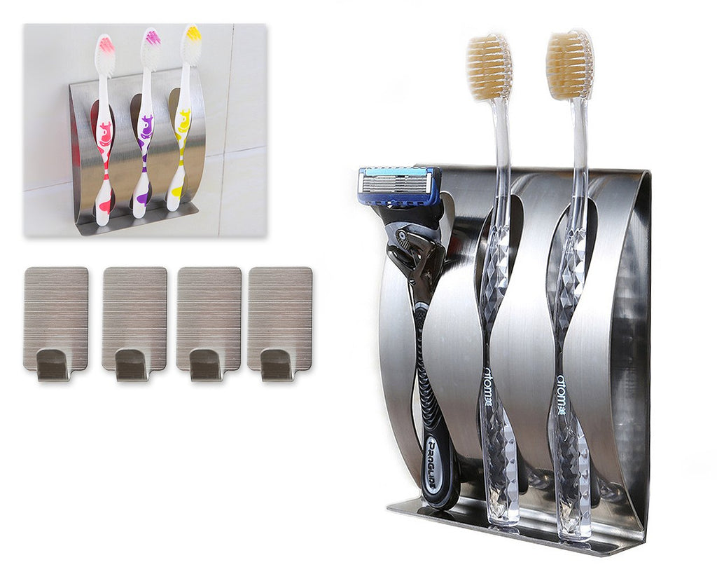 3 Holes Stainless Steel Toothbrush Holder with 4 pieces Hooks