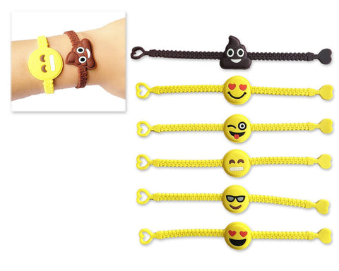 30 Pieces Rubber Emoji Bracelets