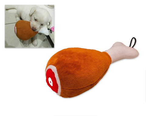 Plush Dog Squeaky Toy with Chicken Leg Design