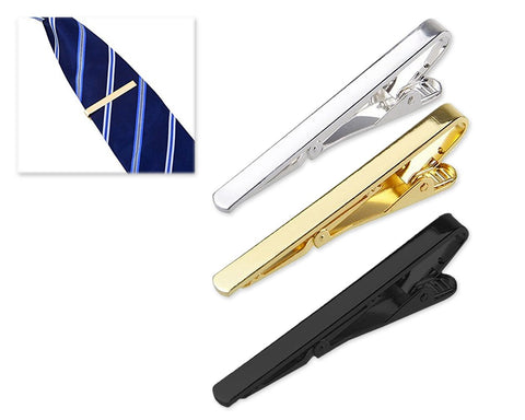 3 Pieces Men's Tie Clip Tie Bar Set - Gold, Silver and Black