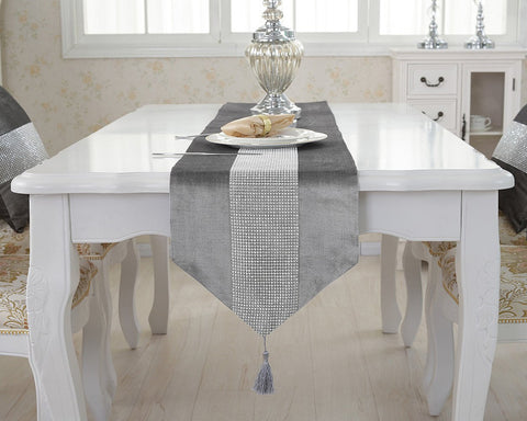Rhinestone Table Runner with Tassel for Table Decoration 13 x 72 Inch - Grey