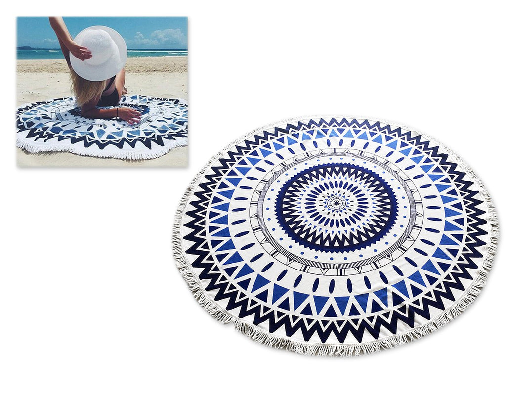 Fiber Printing Beach Towel with Tassels - Mandala Pattern