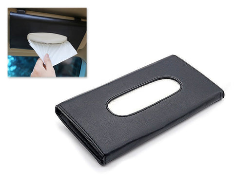 Car Tissue Holder Leather Sun Visor Tissue Box - Black