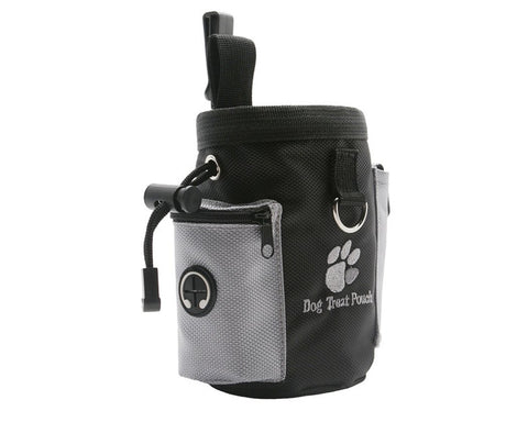 Dog Treat Bag with Waste Bag Dispenser and Drawstring - Black