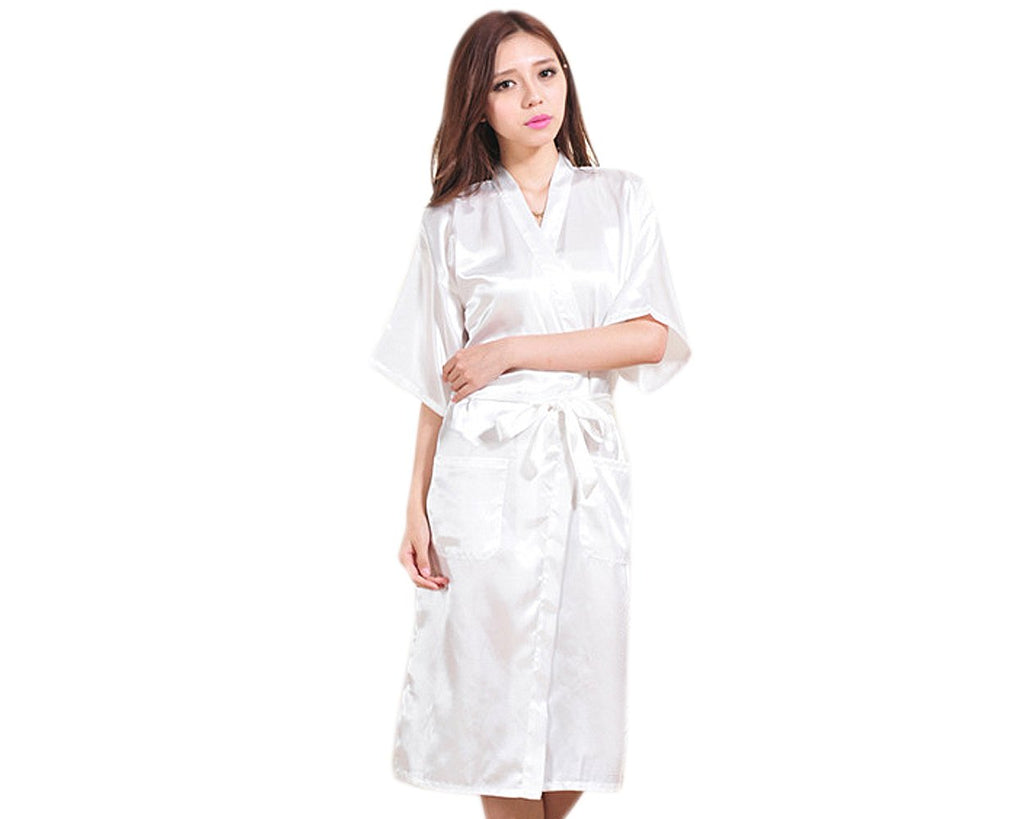 Long Style Satin Bath Robe for Women - White