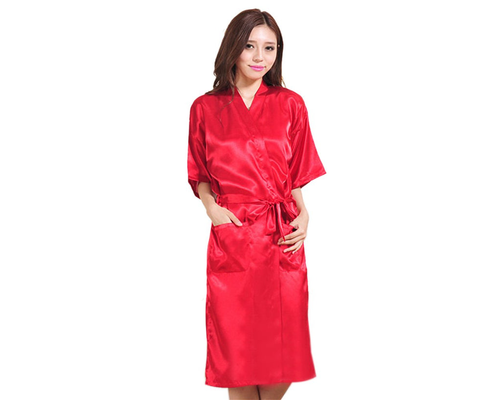 Long Style Satin Bath Robe for Women - Red